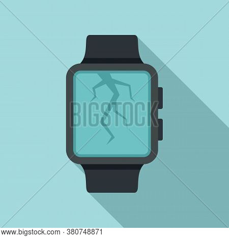 Crack Display Smartwatch Repair Icon. Flat Illustration Of Crack Display Smartwatch Repair Vector Ic