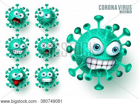 Coronavirus Ncov Emoji Vector Set. Novel Corona Virus Covid19 Emojis And Emoticons With Scary And An