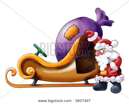 Santa Claus Having A Rest Near His Sledge