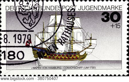 02 10 2020 Divnoe Stavropol Territory Russia The Postage Stamp Germany 1977 Ships Wappen Von Hamburg