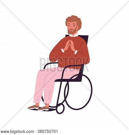 Portrait Of Invalid, Disabled Young Man Sitting In Wheelchair. Handicapped Character With Limited Mo