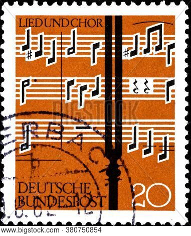 02 10 2020 Divnoe Stavropol Territory Russia The Postage Stamp Germany 1962 Choral Singing Tuning Fo
