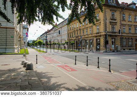 Ljubljana, Slovenia - July 16th 2018: Erjavceva Cesta Street At Park Sveta Evrope Park In Ljubljana,