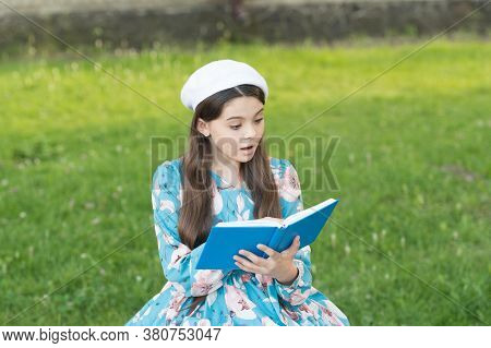 Girl Student Inspired Reading Recite Poetry, Classic Literature Subject Concept.