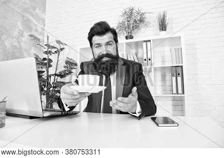 Help Yourself Please. Happy Businessman Serve Hot Cup At Desk. Project Manager Drink Tea During Work