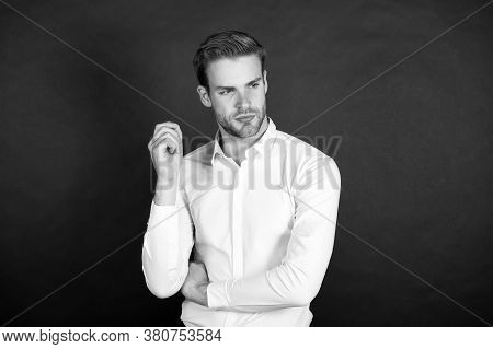 Have Great Hair Every Day. Guy With Stylish Hair Dark Background. Unshaven Man With Facial Hair. Bar
