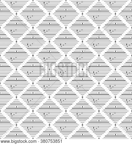 Thin Black Square Rhombus With Small Circles, Rhombuses Seamless Pattern. Geometry Simple Square In