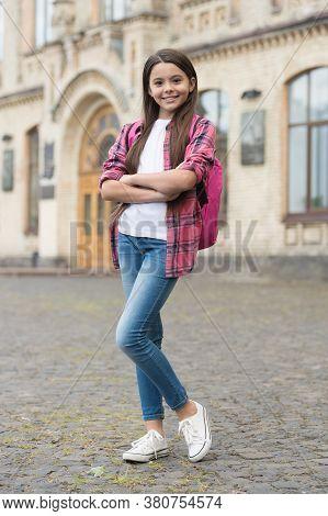 Effortlessly Stylish Look. Happy Kid Go To School. Back To School Fashion. Fashion Look Of Small Chi