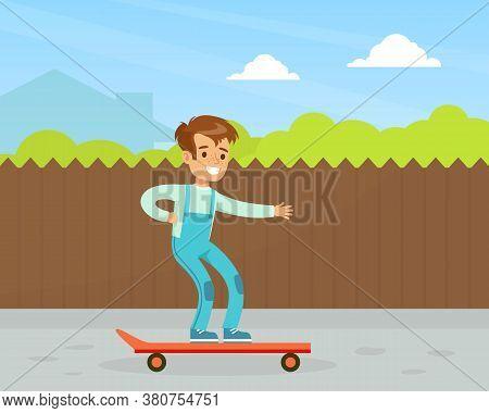 Cute Smiling Boy Riding Skateboard Outdoor, Kid Outdoor Activity Cartoon Vector Illustration