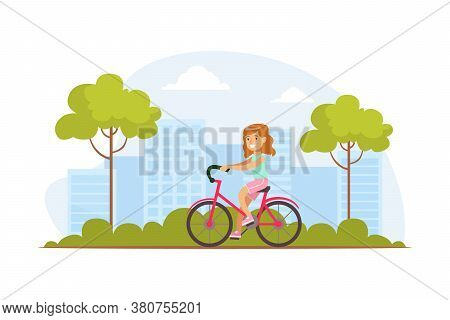 Smiling Little Girl Riding Bicycle In Park Outdoor, Kid Summer Outdoor Activity Cartoon Vector Illus