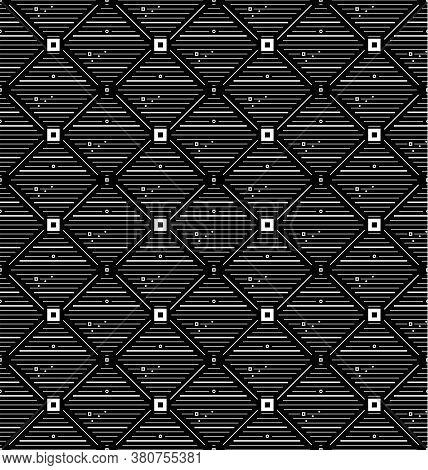 Thin White Square Rhombus With Small Circles, Rhombuses Seamless Pattern. Geometry Black Simple Squa
