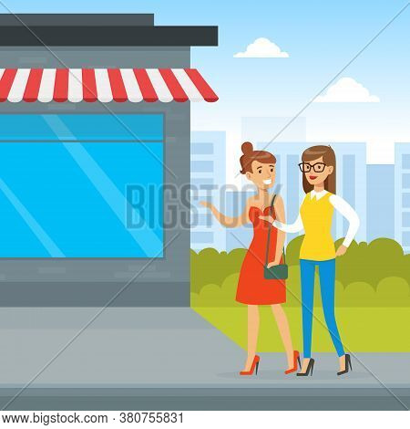 Two Young Women Walking And Chatting, Two Girls Going For Shopping, Best Friends, Female Friendship