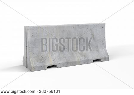 Concrete Barricade Isolated On White Background - 3d Render