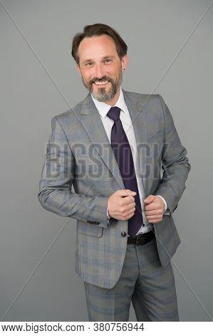 Congratulations. Senior Happy Employee Grey Background. Bearded Man In Formalwear Grey Background. B