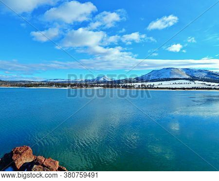 February Blues - A Winter Scene Looking South Across Haystack Reservoir With Gray Butte And Haystack