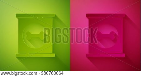 Paper Cut Canned Food Icon Isolated On Green And Pink Background. Food For Animals. Pet Food Can. Do