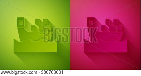 Paper Cut Cargo Ship With Boxes Delivery Service Icon Isolated On Green And Pink Background. Deliver