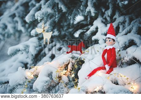 Cute Christmas Toy Sits In The Evening On The Branches Of A Christmas Tree Covered A Thick Layer Of