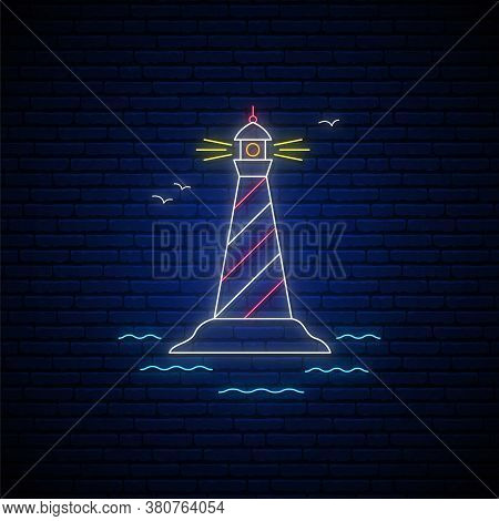 Lighthouse Neon Sign. Glowing Lighthouse Emblem. Neon Signboard With Coast And Lighthouse. Vector Il