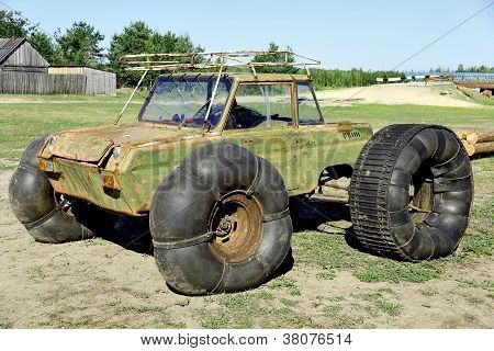 Improvised vehicle through impassable swamps in the Siberian taiga and tundra poster