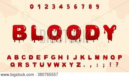 Red Blood Alphabet.typography Of Halloween Creative Font