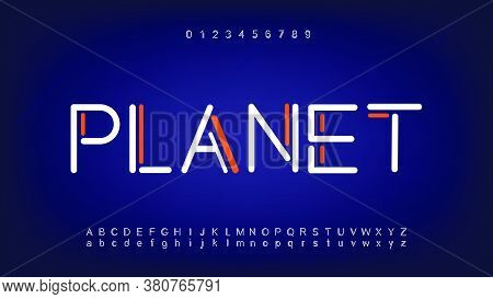 Futuristic And Digital Technology Alphabet Fonts. Typography Of Technology Creative Font