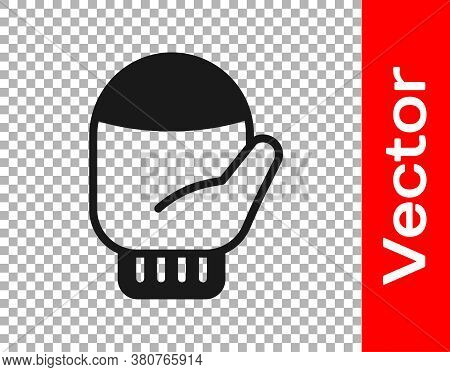 Black Christmas Mitten Icon Isolated On Transparent Background. Vector