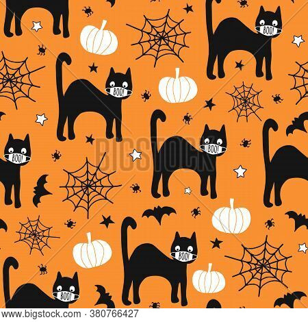 Halloween 2020 Coronavirus Pattern Black Cat Wearing Face Mask, Bat, Spiders Seamless Vector Repeati