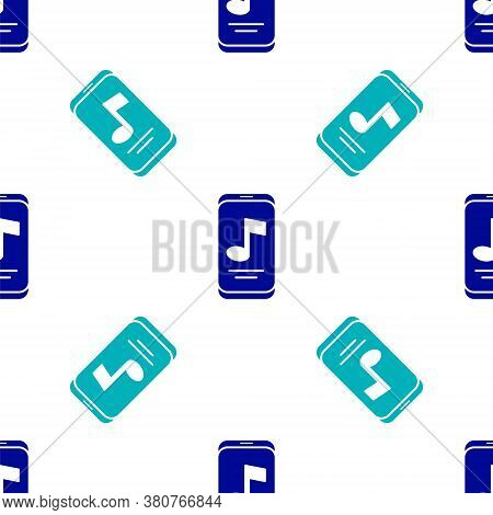 Blue Music Player Icon Isolated Seamless Pattern On White Background. Portable Music Device. Vector