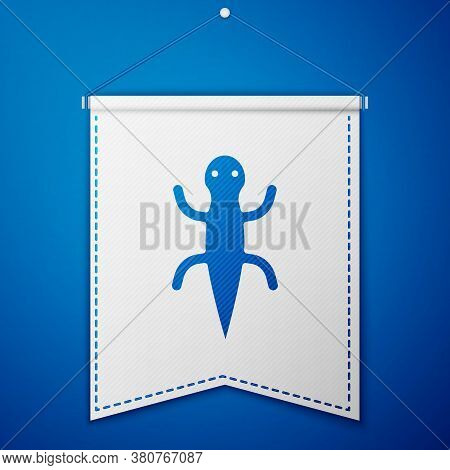 Blue Lizard Icon Isolated On Blue Background. White Pennant Template. Vector