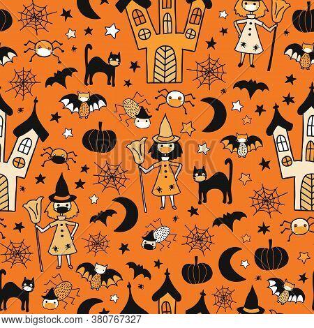 Halloween 2020 Coronavirus Kids Vector Pattern. Witch, Cat, Spiders, Bats Wearing Face Masks Seamles