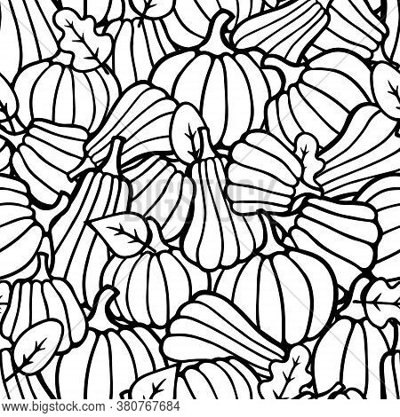 Halloween And Thanksgiving Day Seamless Pattern. Doodle Outline Black Pumpkins And Autumn Leaves Bac