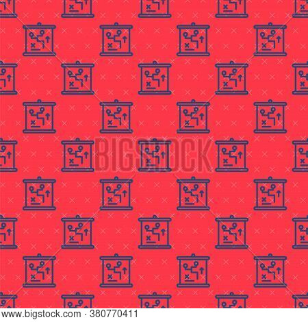Blue Line Planning Strategy Concept Icon Isolated Seamless Pattern On Red Background. Cup Formation