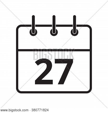 Line Icon The Twenty-seventh Day On The Calendar Isolated On White Background. Vector Illustration.