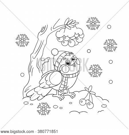 Coloring Page Outline Of A Funny Bird In Winter