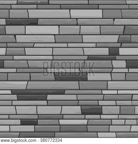 Greyscale Seamless Texture Of Stonewall. Vector Illustration Of Stone Background.