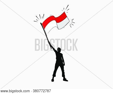 Man Carrying The Indonesian Flag On White Background In Vector Illustration