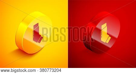 Isometric Inhaler Icon Isolated On Orange And Red Background. Breather For Cough Relief, Inhalation,