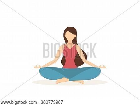 Girl Does Yoga And Meditation. Beautiful Woman Sitting In Lotus Position. Beauty And Healthy Lifesty