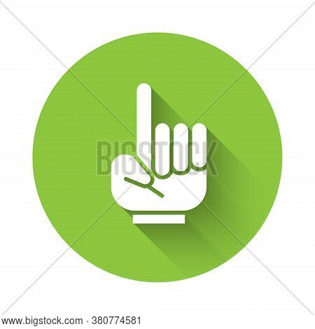 White Number 1 One Fan Hand Glove With Finger Raised Icon Isolated With Long Shadow. Symbol Of Team