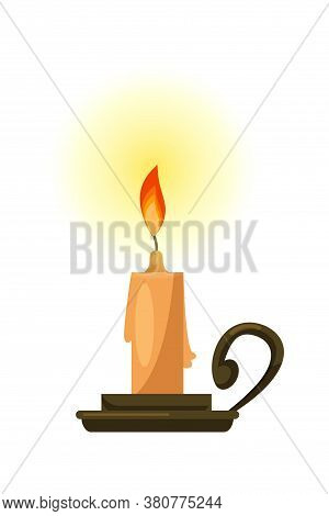 Fortunetelling Wax Candle On Metal Stand Isolated On White Background. Divination And Taromancy. Eso