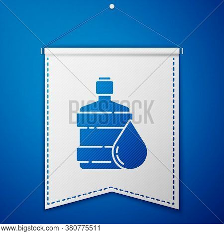 Blue Big Bottle With Clean Water Icon Isolated On Blue Background. Plastic Container For The Cooler.