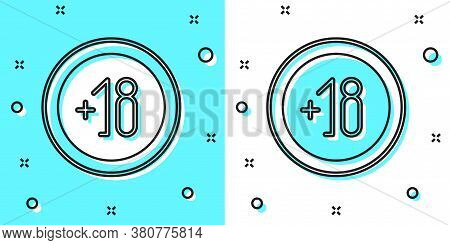 Black Line Alcohol 18 Plus Icon Isolated On Green And White Background. Prohibiting Alcohol Beverage