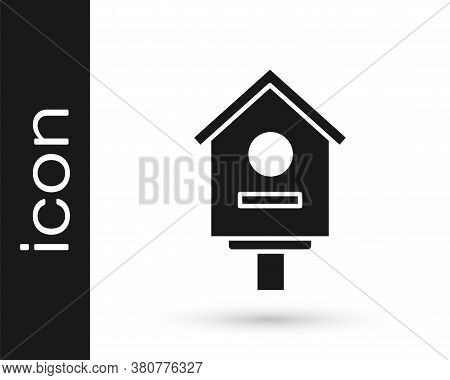 Grey Bird House Icon Isolated On White Background. Nesting Box Birdhouse, Homemade Building For Bird