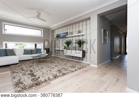 Interior View Of A Living Room In New Luxury Home