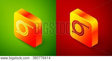 Isometric Garden Hose Or Fire Hose Icon Isolated On Green And Red Background. Spray Gun Icon. Wateri