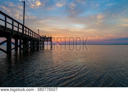 Sunset On Mobile Bay, Alabama In August Of 2020