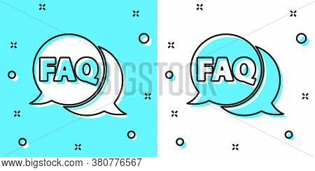 Black Line Speech Bubble With Text Faq Information Icon Isolated On Green And White Background. Circ