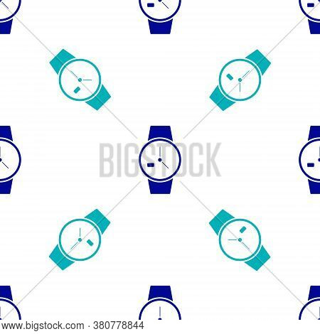 Blue Wrist Watch Icon Isolated Seamless Pattern On White Background. Wristwatch Icon. Vector Illustr