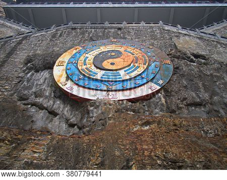 Taoist Sign In Mianshan Mountain The World Heritage Site, Many Of Ancient Hanging Taoist Temples And
